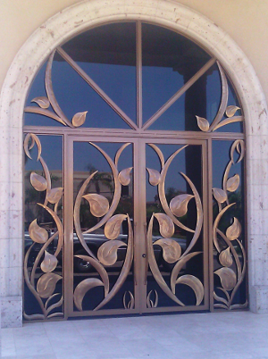 Large sculpted doors