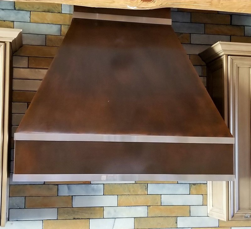 Copper Oven Hood With Stainless Steel Trim (1)