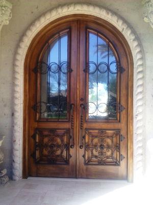 Wood & Wrought Iron Entry Door (06)