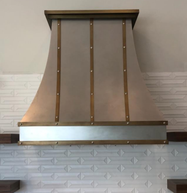 Stainless and Antique Brass Custom Range Hood (73)