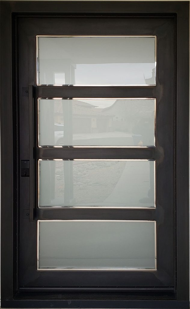 Black Entry Door With Frosted Glass (18)
