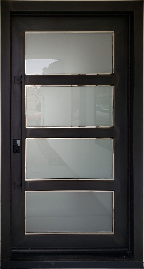 Black Entry Door With Frosted Glass (19)