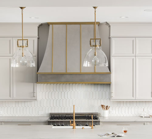 Large stainless steel and gold range hood (91)