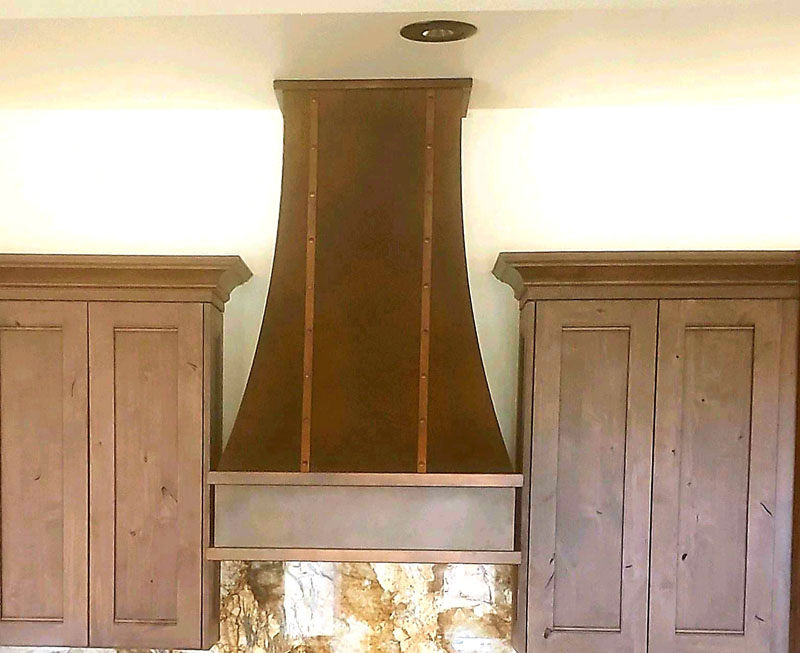 Tall copper finish range hood (106)